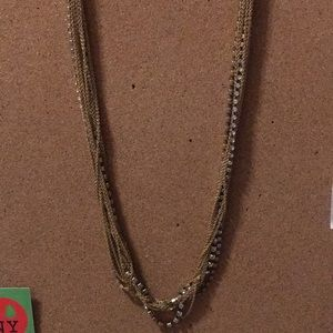 J. Crew Crystal and Gold Chain Necklace